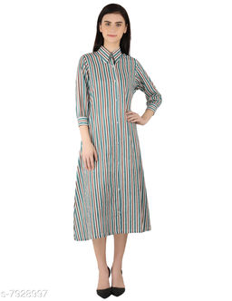 MOH The Eternal Dhaga  Cotton  Mandarin Collar Striped 3/4 Sleeve Multicolor Casual And Party Wear Women Shirt Dress