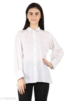 MOH The Eternal Dhaga  Cotton  Shrirt Style Solid 3/4 Sleeve White Casual And Party Wear Women Shirt