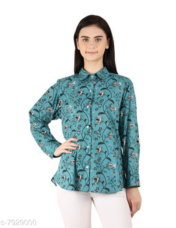 MOH The Eternal Dhaga  Cotton  Mandarin Collar Printed Full Sleeve Teal Blue Casual And Party Wear Women Shirt