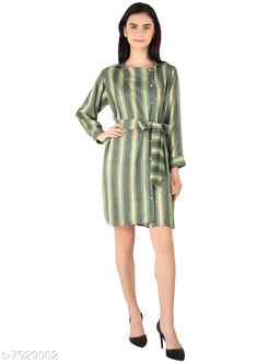 MOH The Eternal Dhaga  Foil Rayon Knee length Round Neck Striped Full Sleeve Green Casual And Party Wear Women Shirt dress
