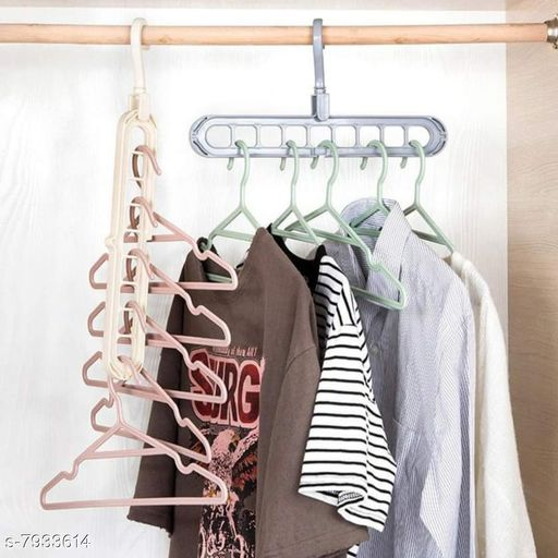 Apparel Storage 360° Rotating 9 Hole Hanger   *Material* Plastic  *Pack* 10  *Sizes* Free Size  *Sizes Available* Free Size *    Catalog Name: Trendy Clothes Hangers CatalogID_1305233 C131-SC1628 Code: 507-7933614-