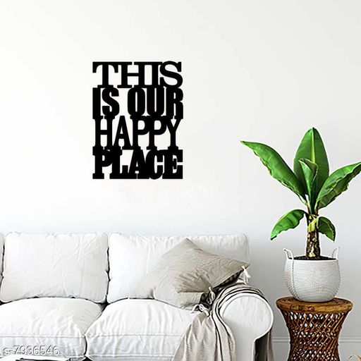 Sticker Hub Paintable Happy Place Wooden Laser Cut for Decoration DIY Prodcuts for kids, parties, art and craft  pack of1