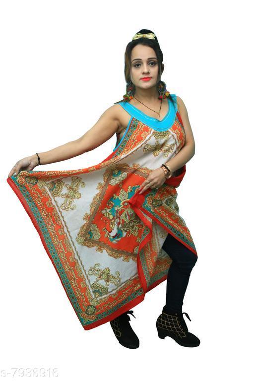 women kikar cream and orange fulldesigner printed poncho