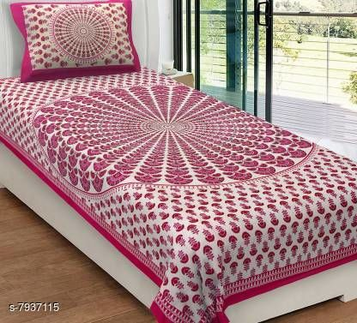 104 TC Jaipuri Rajasthani Paislay Print More Pankh 1 Single Bedsheet with 1 Pillow Cover