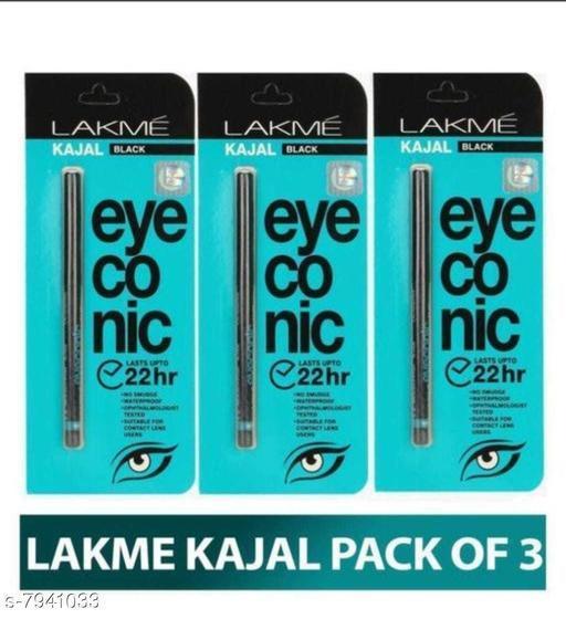 Eye Care Lakme Eyeconic Kajal  *Product Name* Lakme Eyeconic Kajal  *Brand* Lakme  *Product  Type* Kajal  *Multipack* 3  *Capacity* 20gm  *Size* Free Size  *Sizes Available* Free Size *    Catalog Name:  Lakme Eyeconic Kajal CatalogID_1306960 C52-SC1310 Code: 423-7941033-