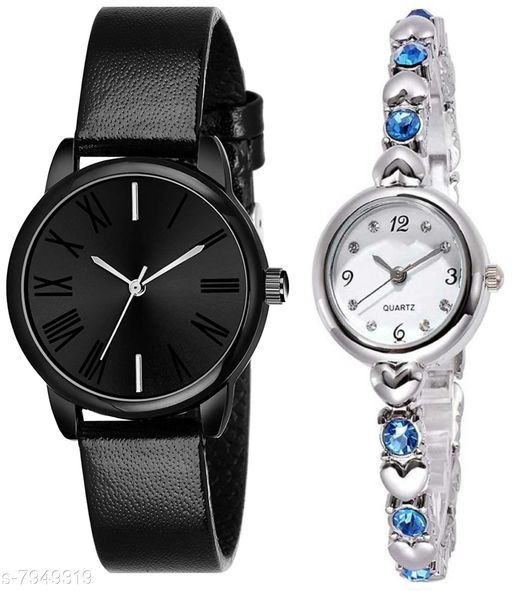 Green Scapper Silver Metal Strap Luxury Party Wedding Rich Look Analog Watches For Women & Girls-3501