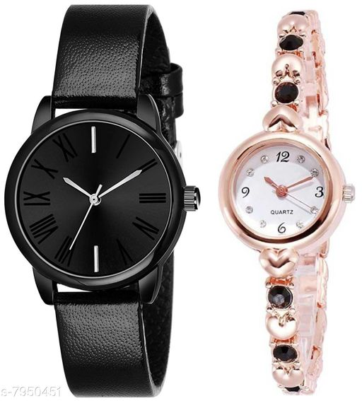 Green Scapper Gold Metal Strap Luxury Party Wedding Rich Look Analog Watches For Women & Girls-2627