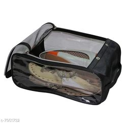 Fabric Shoe Cover Travelling Storage Footwear Wardrobe Organizer bag pouch Black Pack of 1
