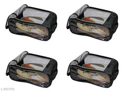 Fabric Shoe Cover Travelling Storage Footwear Wardrobe Organizer bag pouch Black Pack of 4