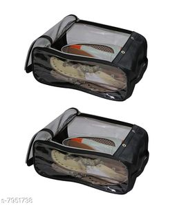 Fabric Shoe Cover Travelling Storage Footwear Wardrobe Organizer bag pouch Black Pack of 2