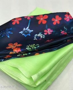 Bought firstWomen's Moss Chiffon Saree With Digital Printed Bloues Piece