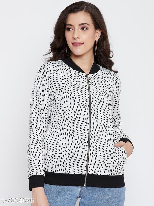 Austin Wood Women's White Full Sleeves Printed Bomber Neck Sweatshirt