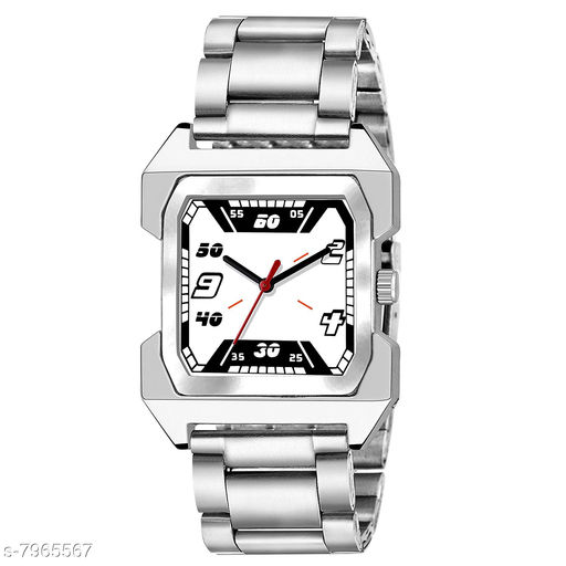 MEN_66 WHITE DIAL SQUARE NEW ARRIVAL EXCLUSIVE ANALOG WATCH FOR MEN