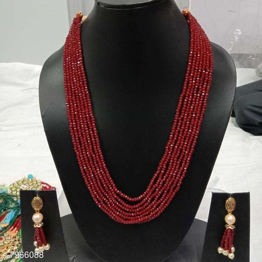 R B INTERNATIONALS WOMENS BEEDS MALA AND EARING SET WITH BEAUTIFUL LOOKING AND FRESH WATER BEED