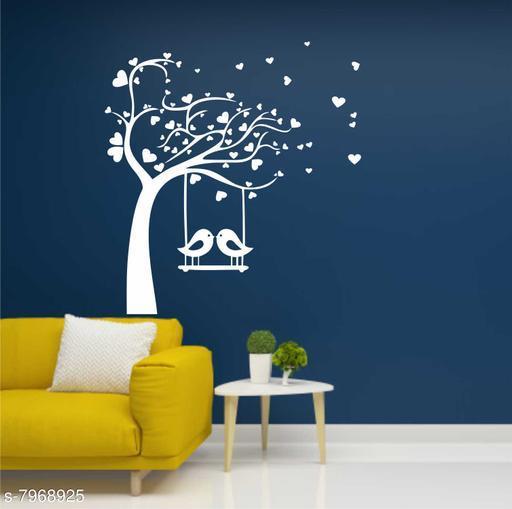 Wall Attraction Birds on Branch & Cage White Wall Sticker for dark walls / Wallpaper / bedroom Sticker