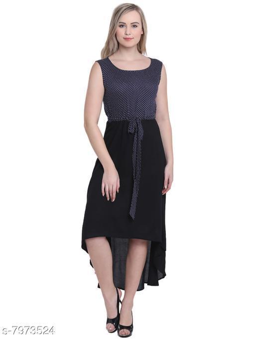 Tuffstars upper polka dott and bottom black solid hi-lo dress