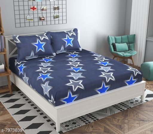 Adirav Navy Blue Color Star Printed Glaced Cotton Bed Sheet With Pillow Cover.