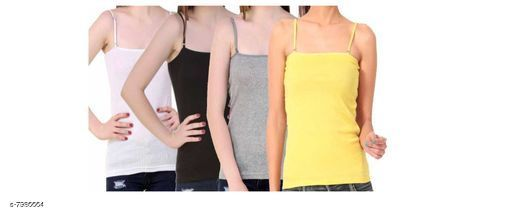 Women Pack of 4 Yellow Cotton Blend Camisoles
