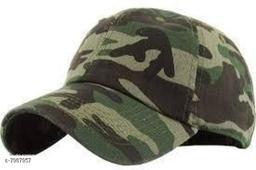Trendy Men's Multicolor Army designed Cotton Caps