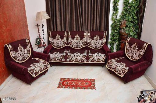 Modern Jute Printed Sofa Covers Set
