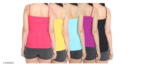 Women Pack of 5 Yellow Cotton Blend Camisoles
