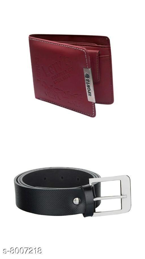 Casual Unique Men Belts & Wallet Combo