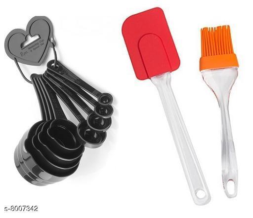 Vessel Crew Combo of Plastic Measuring Spoon Set of 8 pcs with Spretula Set