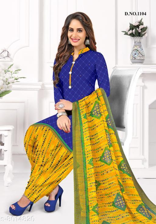 Blissta Women's Royal Blue Crepe Printed Unstitched Salwar Suit Dress Material