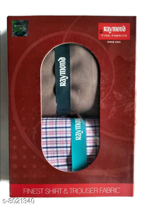 Top and Bottom Fabric Raymond Men`s Shirt and Trouser Fabric Set Raymond Men`s Shirt and Trouser Fabric Set  *Sizes Available* Shirt 2.25m/Pant 1.3m *    Catalog Name: Check out this trending catalog CatalogID_1324338 C70-SC1697 Code: 046-8021340-946