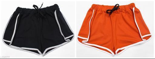 Powermerc Solid Cotton Women Shorts
