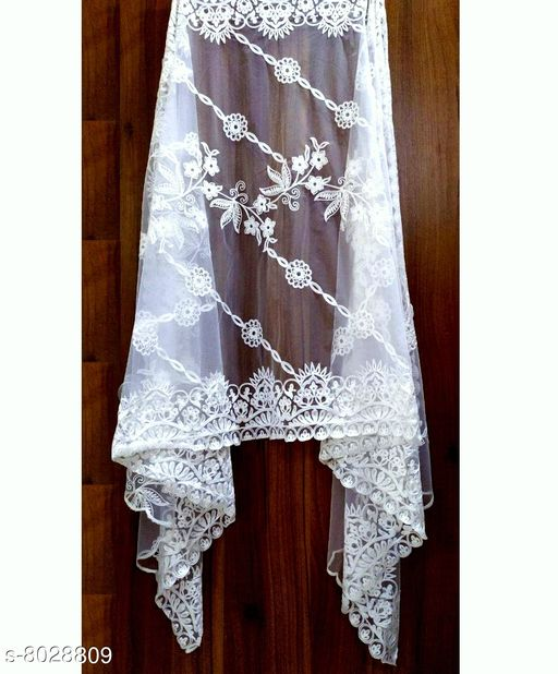 NEW BUTTERFLY SOFT NET DUPATTA WITH COTTON THRED EMBROIDERY WORK U MAKE U A MORE BEAUTIFUL