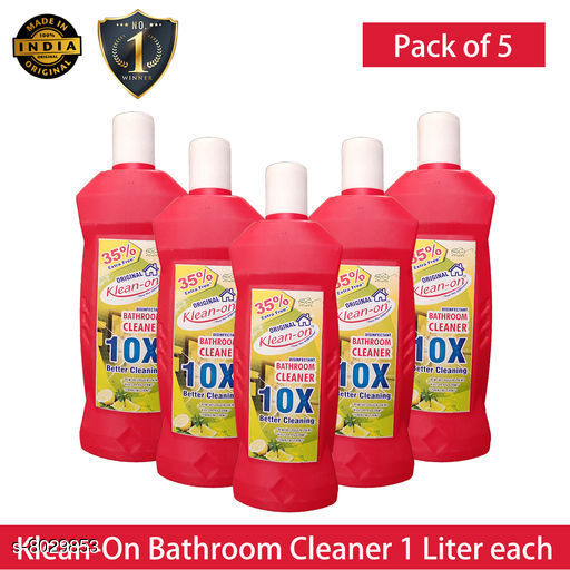 Toilet Cleaners Klean-On Bathroom Cleaner  *Product Name* Klean-On Bathroom Cleaner  *Capacity* 1 Ltr Each  *Pack* Pack of 5  *Sizes Available* Free Size *    Catalog Name: Essential Bathroom Cleaner CatalogID_1326287 C89-SC1747 Code: 964-8029853-