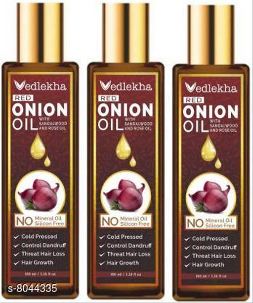 Vedlekha 100% Pure & Natural RED ONION OIL- For Hair Regrowth & Anti Hair fall Hair Oil-100ml-Packof-3-Bottle-(300ml) Hair Oil (300 ml)