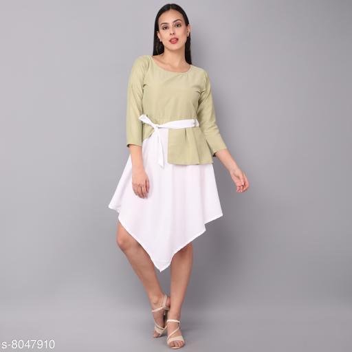 Light pista & White color Westan Dress poly  Reyon & maslin