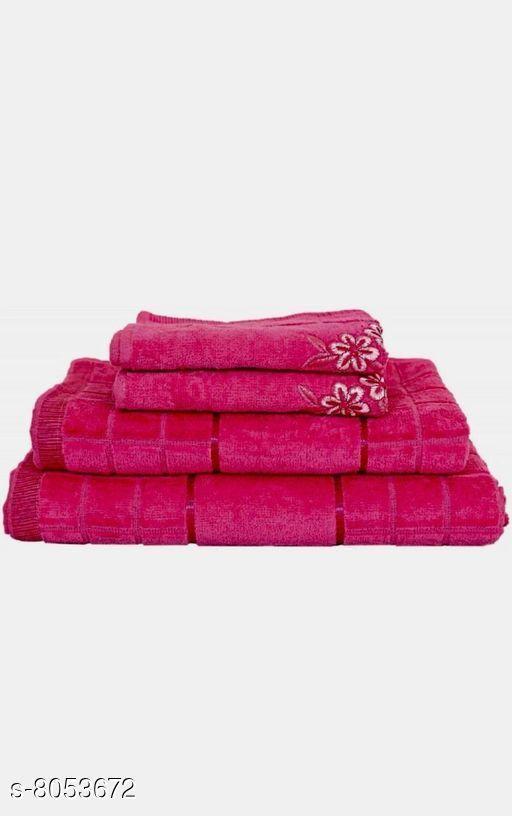 Bath & Beach Towels Stylish Bath Towels  *Material* Cotton  *Pattern* Embroidered  *Multipack* 1  *Sizes*   *Free Size (Gents Bath Towel Length Size* 56 in, Gents Bath Towel Width Size  *Description* It Has 1 Gents Bath Towel, 1 Ladies Bath Towel, 2 Hand Towels  *Sizes Available* Free Size *    Catalog Name: Stylish Bath Towels CatalogID_1331897 C71-SC1110 Code: 2101-8053672-