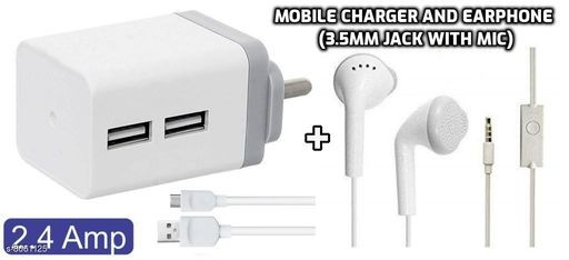 Unique Mobile Charger along with Superior Sound Quality Earphones (Mic with 3.5mm Jack)
