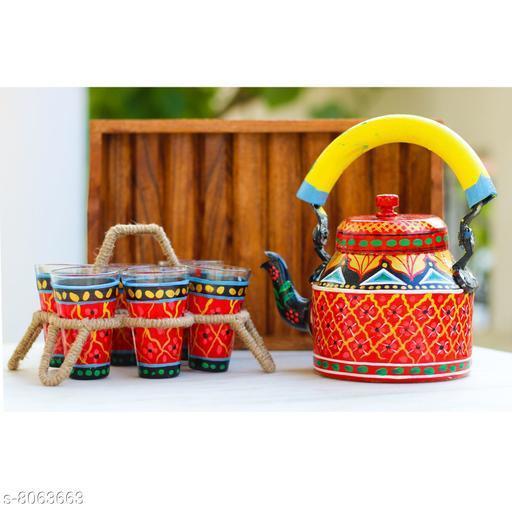 iHandikart Handicrafts Traditional Meenakari,jaipuri,Artician Handpainted Figurine Aluminium Decorative Tea Kettle/Pot, 6 Galss And Stand,Wooden Tray Set