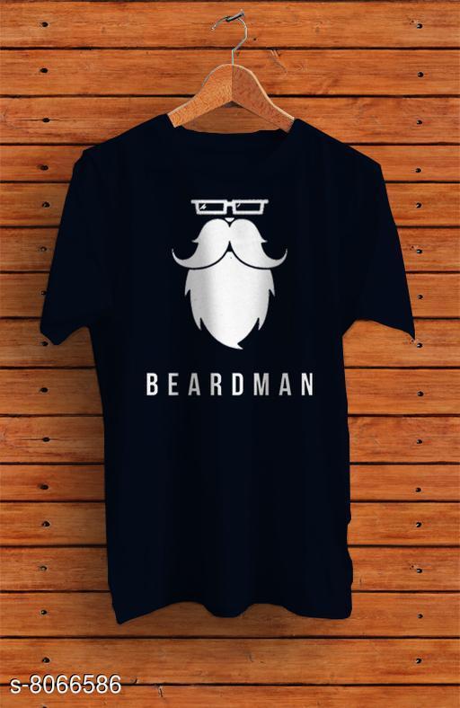 Beardman Men's  Half Sleeve Solid Cotton Blue Round Neck Tees