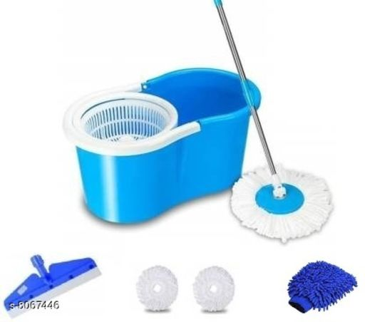 Magic dry Bucket Mop Plastic jali with 2 Refill & Free 2 Accessories