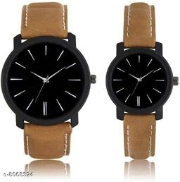 Vwatch Casual Analogue Black dial Brown strap watch for Men and Women - Vwatch_W_Roman Couple