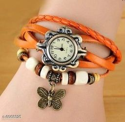 Vwatch Casual Analogue White dial Orange strap watch for Women - Vwatch_W_Orange