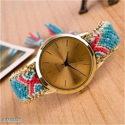 Vwatch Casual Analogue Gold dial Multicolor strap watch for Women - Vwatch_W_Fabric-Plain(4)