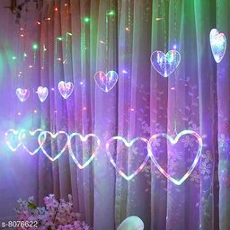 Brand World Multicolor Heart Light Curtain, String Lights with 12 Hanging Hearts, 8 Flashing Modes, Decoration Lighting