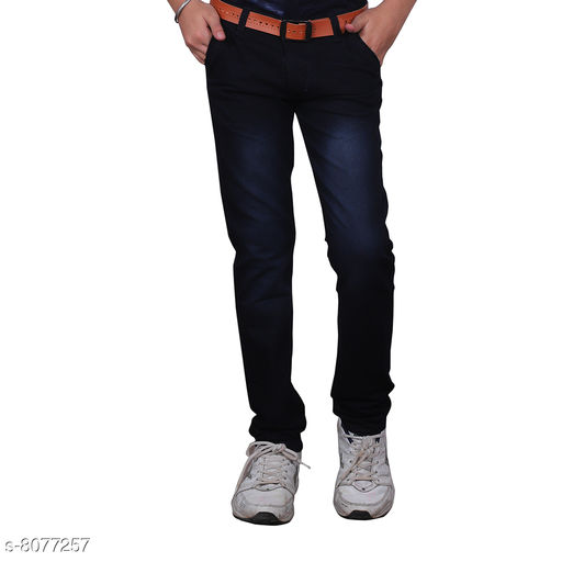 Jeans Trendy Boy's Jeans Fabric: Cotton Blend Pattern: Solid Multipack: Single Sizes:  Age Group (2 - 3 Years) - 20 in Age Group (4 - 5 Years) - 24 in Age Group (6 - 7 Years) - 28 in Age Group (8 - 9 Years) - 30 in Age Group (10 - 11 Years) - 32 in Age Group (12 - 13 Years) - 34 in Age Group (14 - 15 Years) - 36 in Age Group (15 - 16 Years) - 36 in Country of Origin: India Sizes Available: 1-2 Years, 2-3 Years, 3-4 Years, 4-5 Years, 5-6 Years, 6-7 Years, 7-8 Years, 8-9 Years, 9-10 Years, 10-11 Years, 11-12 Years, 12-13 Years, 13-14 Years, 14-15 Years, 15-16 Years   Catalog Rating: ★3.8 (3260)  Catalog Name: Cutiepie Fancy Boys Jeans & Jeggings CatalogID_1337408 C59-SC1180 Code: 344-8077257-