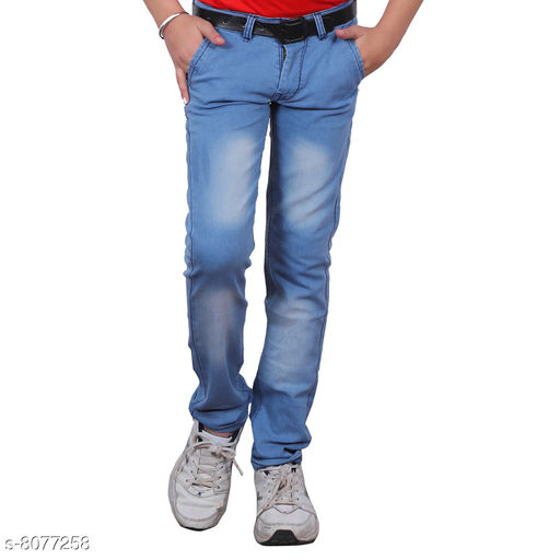 Jeans Trendy Boy's Jeans Fabric: Cotton Blend Pattern: Solid Multipack: Single Sizes:  Age Group (2 - 3 Years) - 20 in Age Group (4 - 5 Years) - 24 in Age Group (6 - 7 Years) - 28 in Age Group (8 - 9 Years) - 30 in Age Group (10 - 11 Years) - 32 in Age Group (12 - 13 Years) - 34 in Age Group (14 - 15 Years) - 36 in Age Group (15 - 16 Years) - 36 in Country of Origin: India Sizes Available: 1-2 Years, 2-3 Years, 3-4 Years, 4-5 Years, 5-6 Years, 6-7 Years, 7-8 Years, 8-9 Years, 9-10 Years, 10-11 Years, 11-12 Years, 12-13 Years, 13-14 Years, 14-15 Years, 15-16 Years   Catalog Rating: ★3.8 (3260)  Catalog Name: Cutiepie Fancy Boys Jeans & Jeggings CatalogID_1337408 C59-SC1180 Code: 344-8077258-