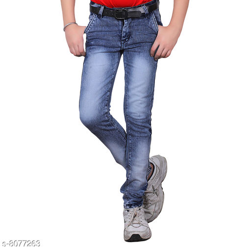 Jeans Trendy Boy's Jeans Fabric: Cotton Blend Pattern: Solid Multipack: Single Sizes:  Age Group (2 - 3 Years) - 20 in Age Group (4 - 5 Years) - 24 in Age Group (6 - 7 Years) - 28 in Age Group (8 - 9 Years) - 30 in Age Group (10 - 11 Years) - 32 in Age Group (12 - 13 Years) - 34 in Age Group (14 - 15 Years) - 36 in Age Group (15 - 16 Years) - 36 in Country of Origin: India Sizes Available: 1-2 Years, 2-3 Years, 3-4 Years, 4-5 Years, 5-6 Years, 6-7 Years, 7-8 Years, 8-9 Years, 9-10 Years, 10-11 Years, 11-12 Years, 12-13 Years, 13-14 Years, 14-15 Years, 15-16 Years   Catalog Rating: ★3.8 (3260)  Catalog Name: Cutiepie Fancy Boys Jeans & Jeggings CatalogID_1337408 C59-SC1180 Code: 344-8077263-