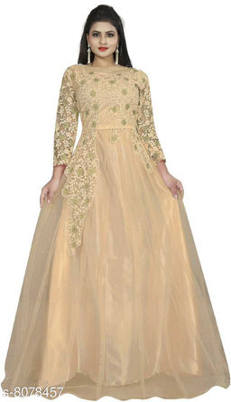 Krunal Raiyani Embroidered Net Semi Stitched Anarkali Gown