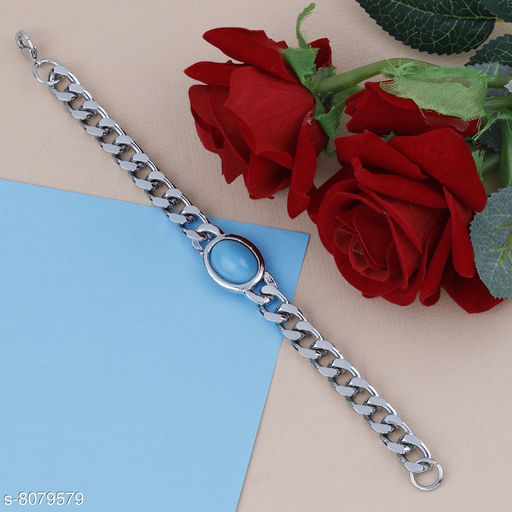 SILVERSHINE Silver Plated  Chain Type  Designer Bracelet for men Jewellery