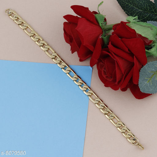 SILVERSHINE Amazing  Gold Plated Chain Type  Designer Bracelet for men Jewellery