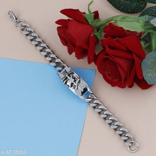 SILVERSHINE Exclusive Silver Plated Chain Type  Designer Bracelet for men Jewellery